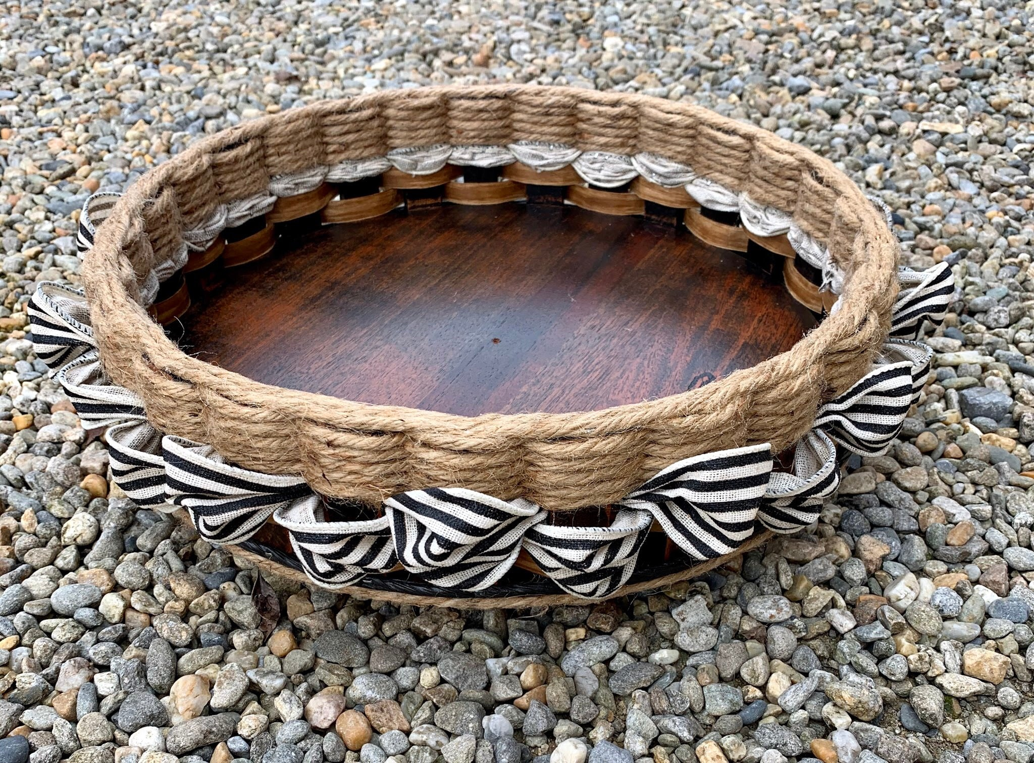 13 inch Lazy Susan Basket-Shabby Chic Collection w/White & Black distress