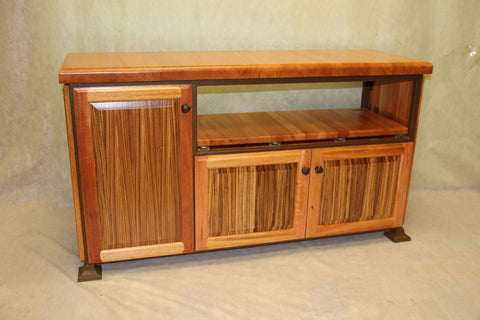 Table--flat screen small entertainment unit w/zebra wood