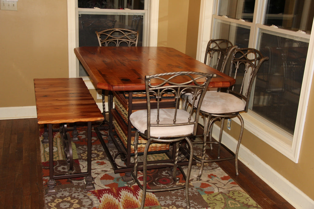 Table 40x60 Distressed Mahogany Sq Steel Frame W Bench And Chairs