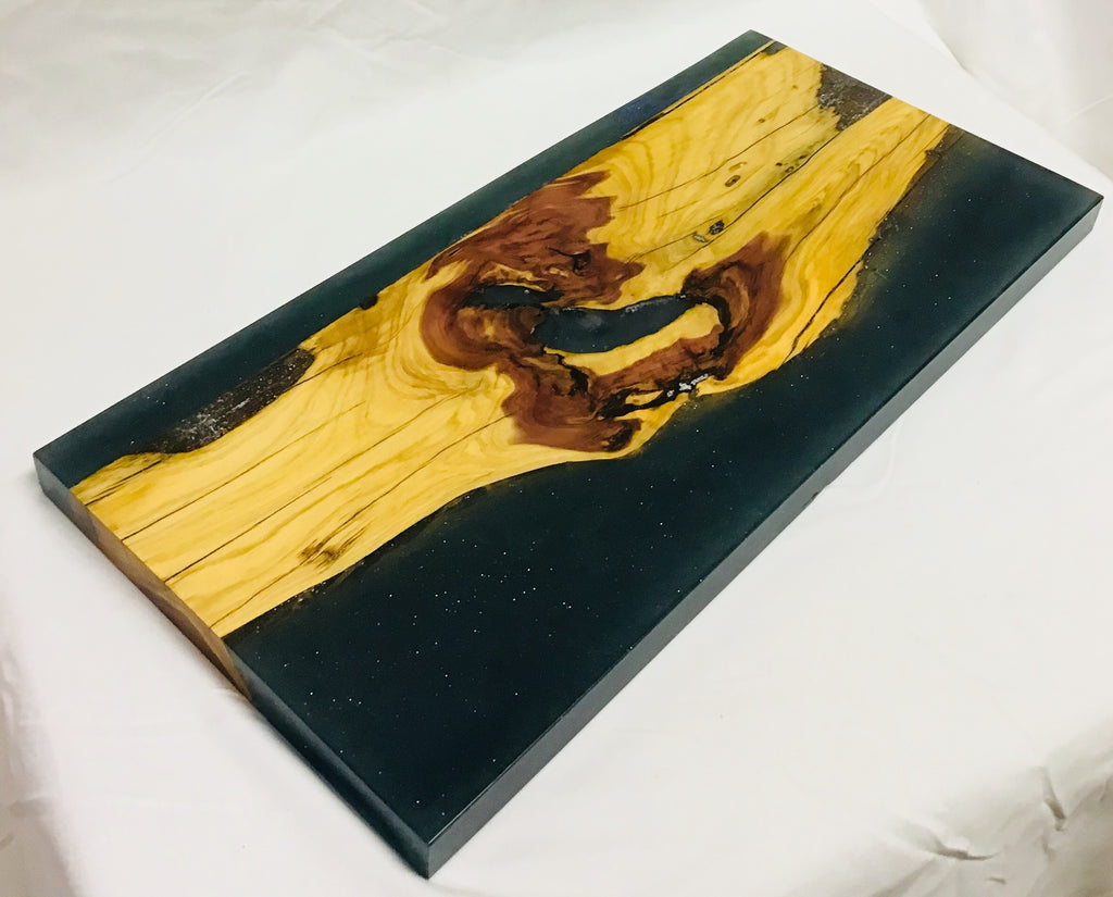 Charcuterie Board with Cedar and Blue Glitter Epoxy