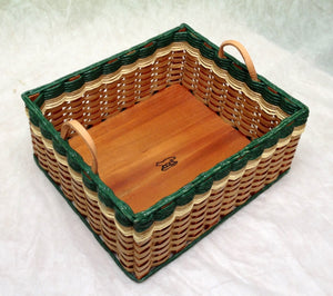 Newspaper basket w/leather handles