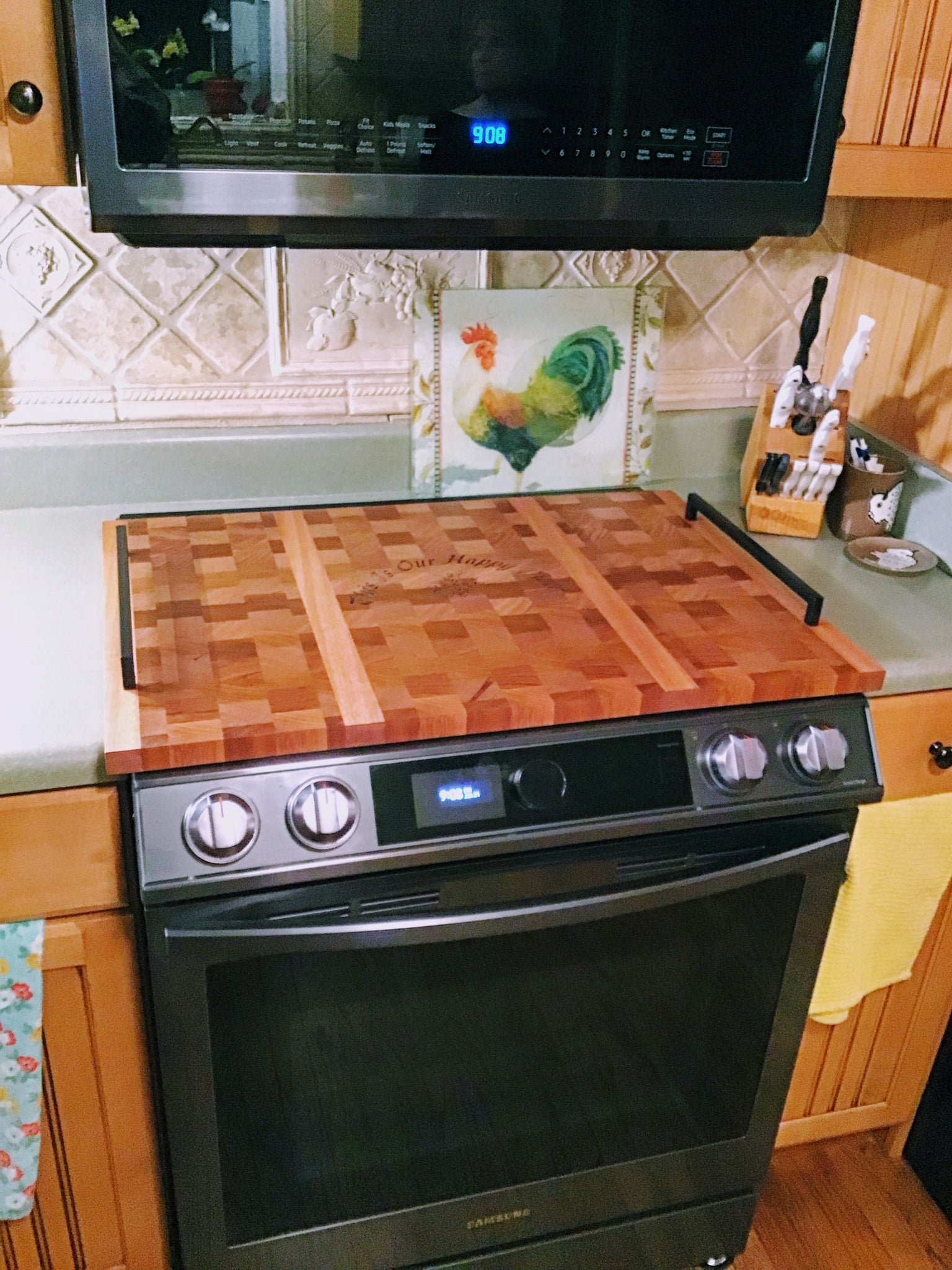 Stove Top Cover-Mahogany End Grain with handles