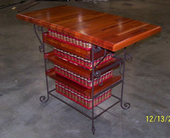 "19x36 Mahogany Island with Silverware basket, cutting board, 5"", 6"", 7 1/2"" Drawers"