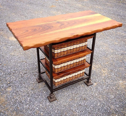 Island/Table--black walnut 24x48 w/square steel frame