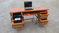 Table-Mahogany Desk with wrought iron