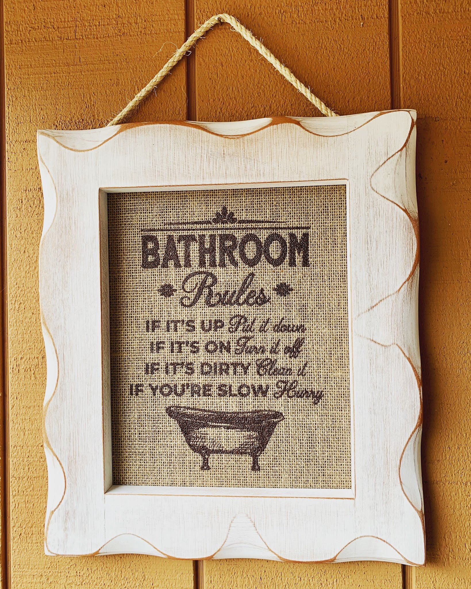 Framed Silkscreen Sayings- Bathroom Rules