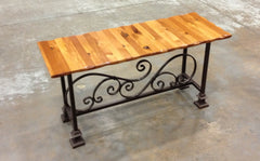 Bench--18x48 mahogany wained edge wrought iron bench