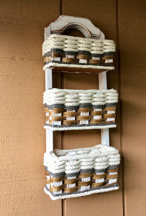 Wall Organizer Triple Baskets w/hooks-Cottage Grey