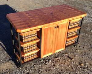 Island-30x56 end grain butcher block with casters
