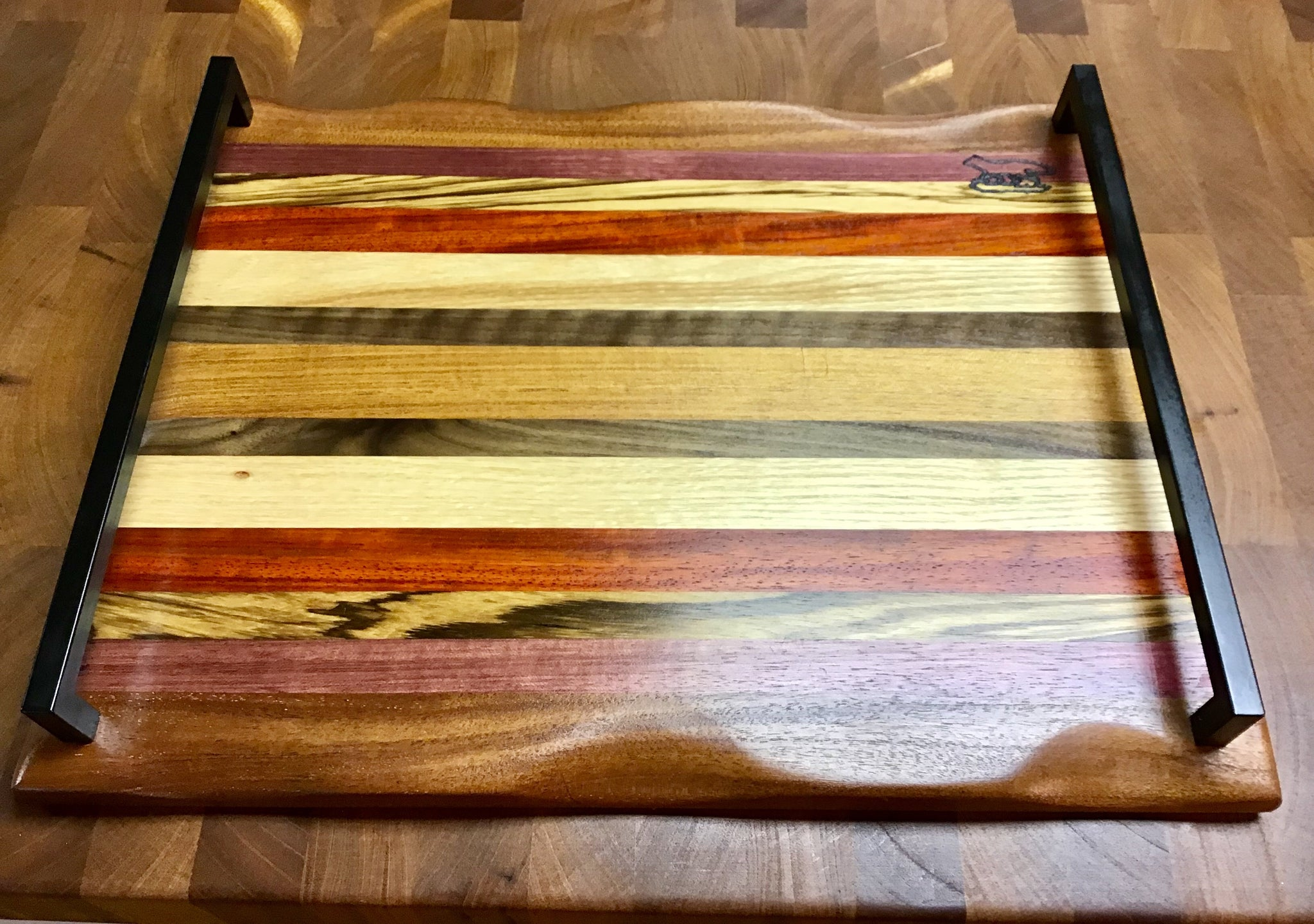 Charcuterie Board-Exotic Wood Stripes w/handle
