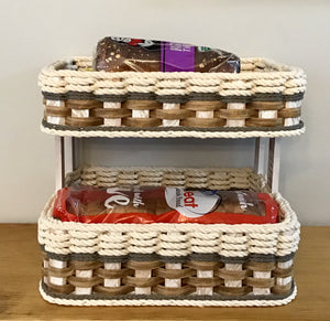 Double Bread Basket- Cottage Grey