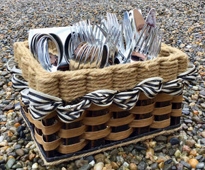 Silverware Basket-Shabby Chic Collection w/Black & White distress