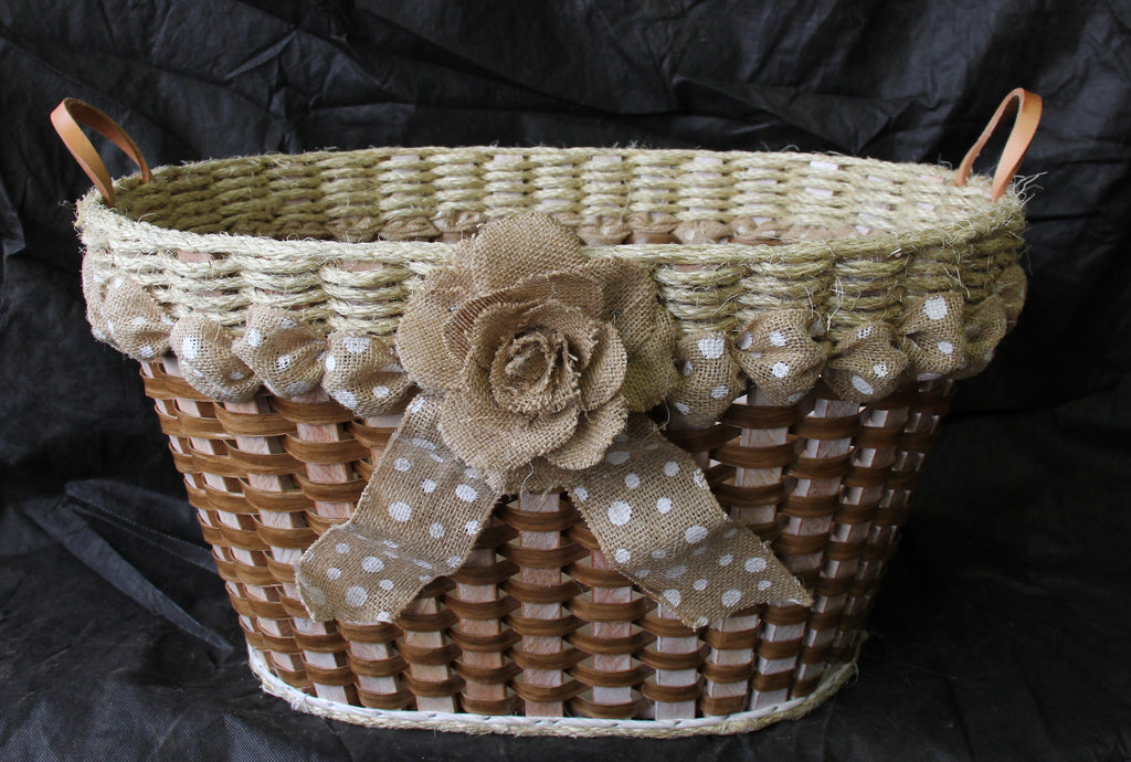 Shabby Chic Collection Laundry Basket W/flower