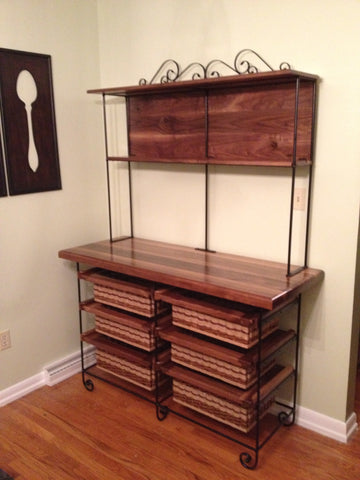 Table/hutch--22x56x72 black walnut hutch