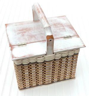Lidded Picnic Basket Large-Cottage Grey