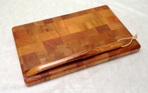 Cutting board--end grain mahogany cutting board and bow knife set