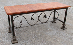 Bench-mahogany and wrought iron