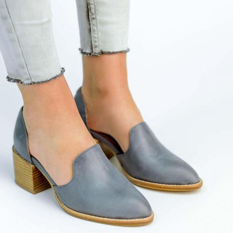 Women Chunky Heel Casual Loafers Slip On Shoes