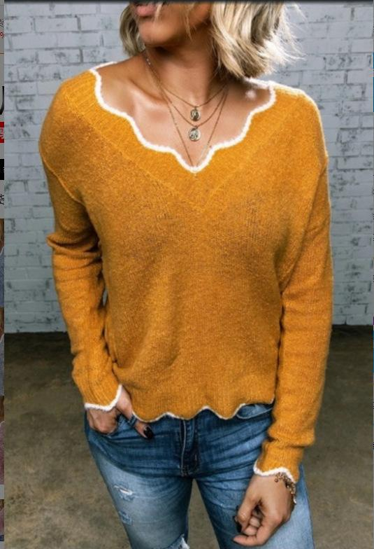 Holiday Color-Block V-neck Sweaters