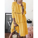 Crew Neck Women Shift Daily Paneled Plain Dress