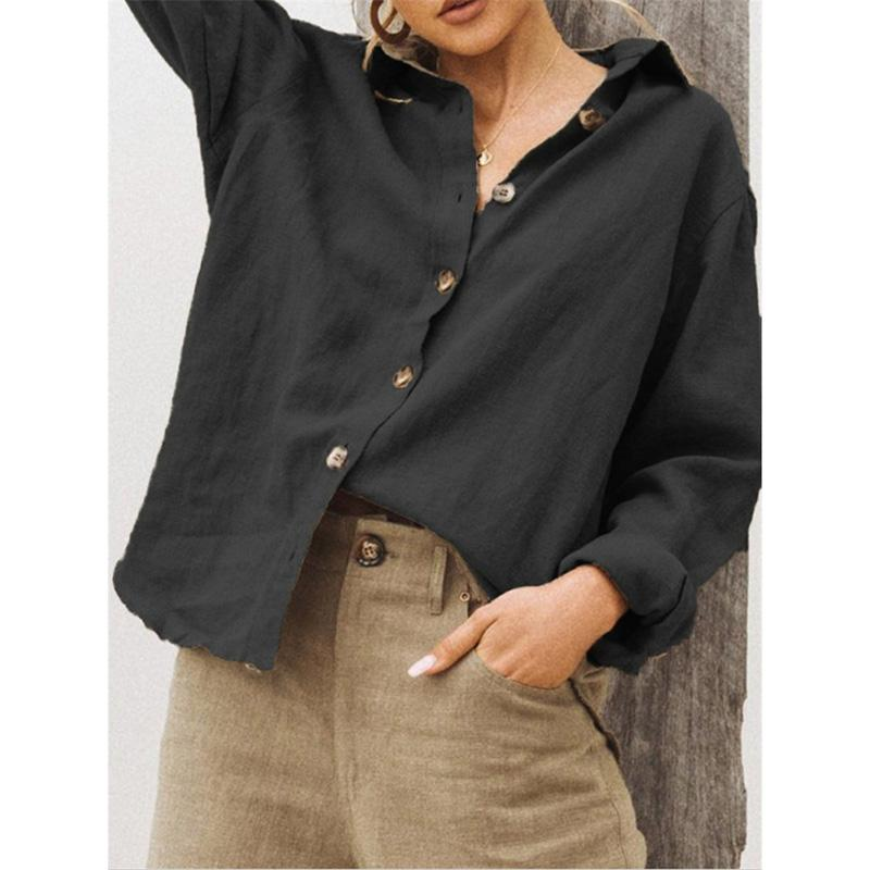 Cotton Buttoned Long-Sleeved Solid Shirt