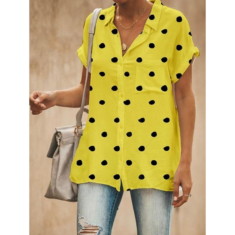 Casual Shirt Polka Dots Short Sleeve Blouses
