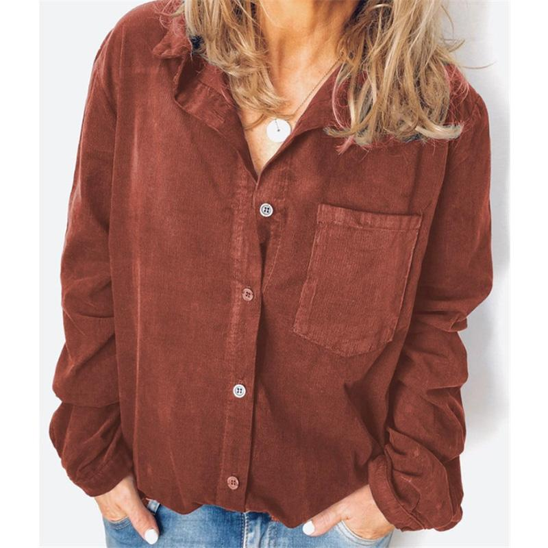 Solid Color Long Sleeve Buttoned Blouses