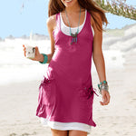 Two Pieces Women Date Cotton-blend Sleeveless Summer Dress