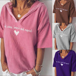 Casual Short Sleeve V Neck Cotton-Blend Shirts & Tops