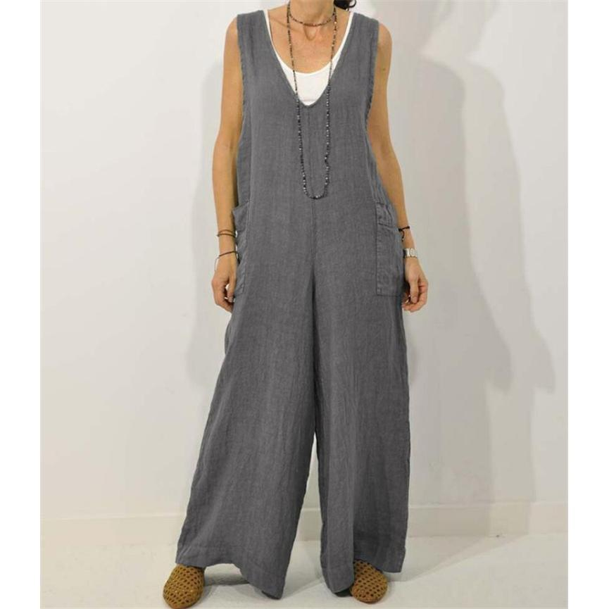 Summer V-Neck Cotton Strap Jumpsuit