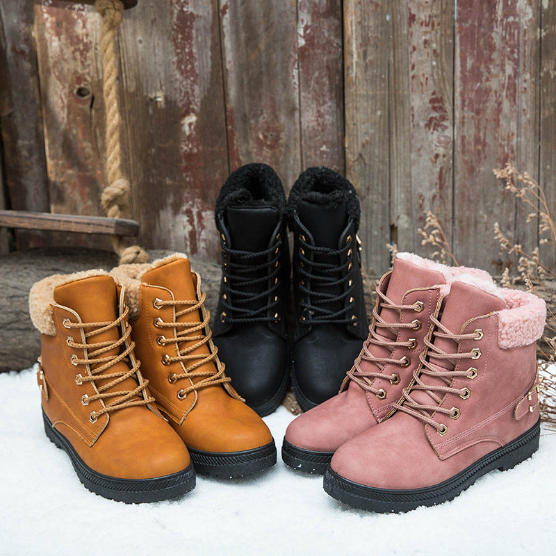 Womens Lace Up Rivet Ankle Snow Boots