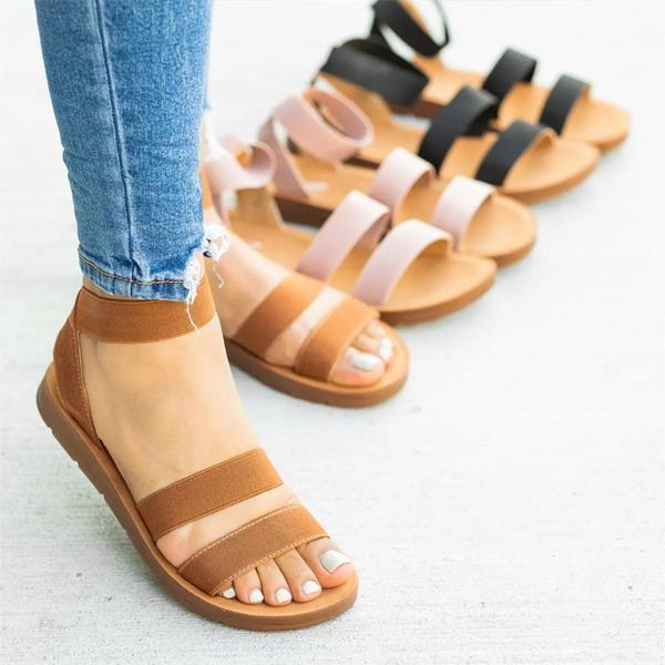 Casual Simple Elastic Strap Flat Sandals