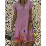 Cotton Blend V Neck Floral Print Short Sleeve Casual Dresses