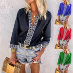 Deep V Neck Mid-Long Sleeve Casual Printed Shirts