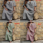 Cotton-Linen Striped Maxi Dresses