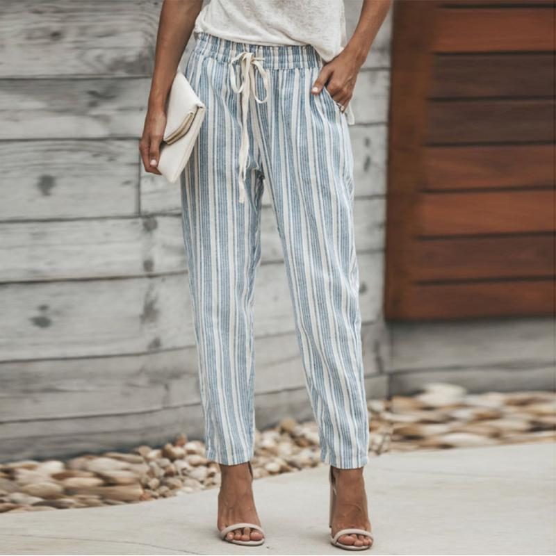 Casual Elastic Waistband Striped Pants