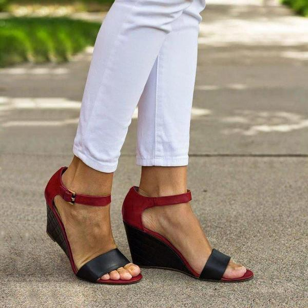 Ankle Strap Wedges Color Block Sandals