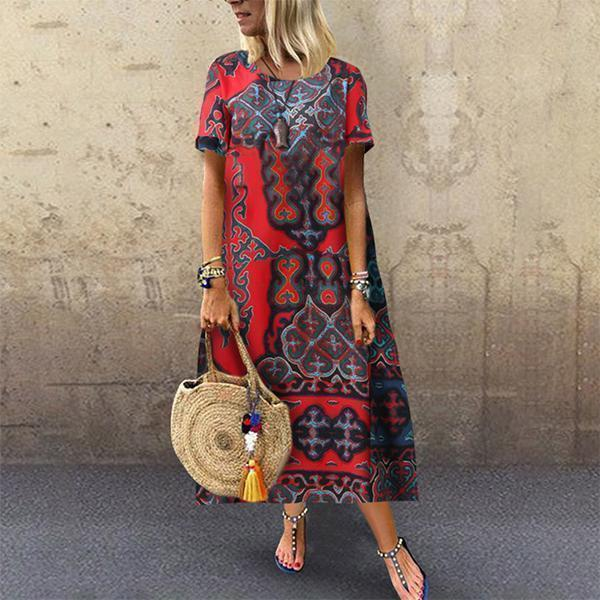 Casual Cotton Linen Printed Short Sleeves Maxi Dresses