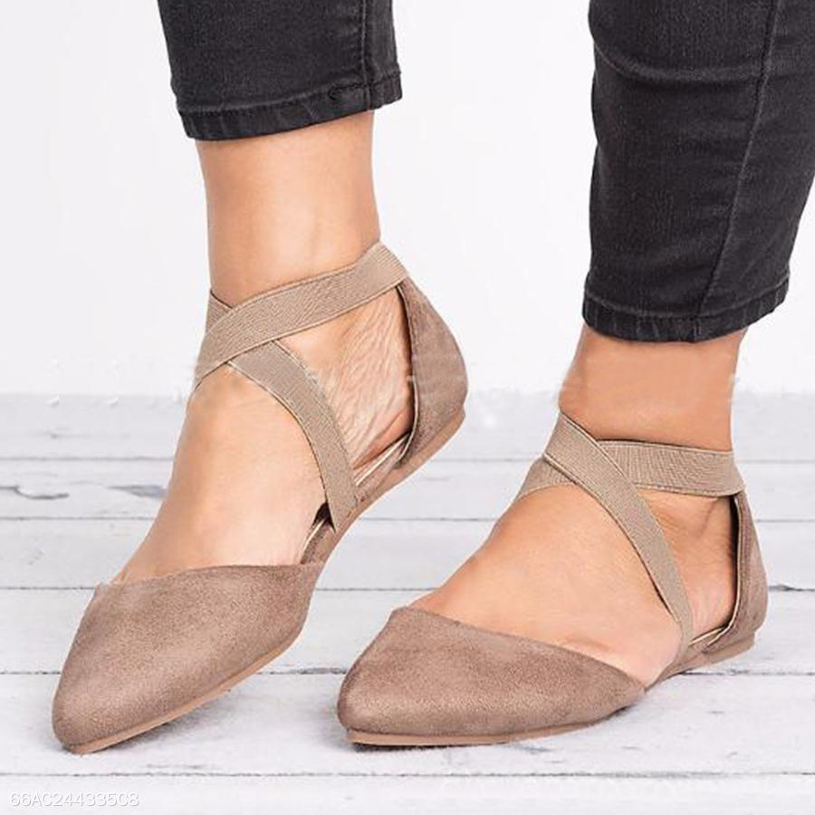 Plain Ankle Strap Point Toe Casual Date Comfort Flats