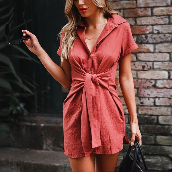 Fashion Lapel Neck Lace-Up Shirts
