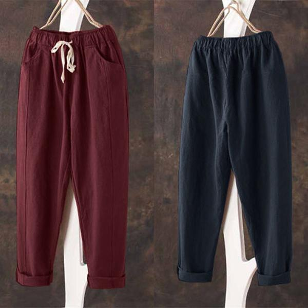 Casual Elastic Waist Solid Color Loose Pants