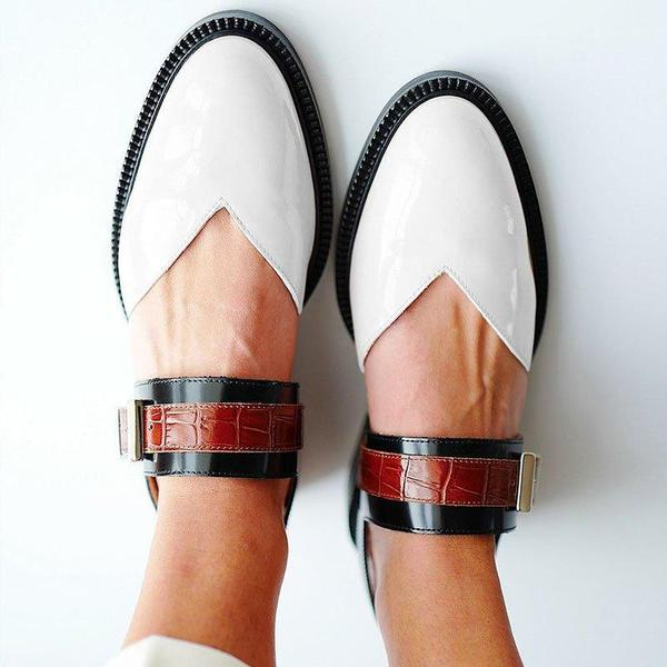 Buckle Color Block Flats Sandals