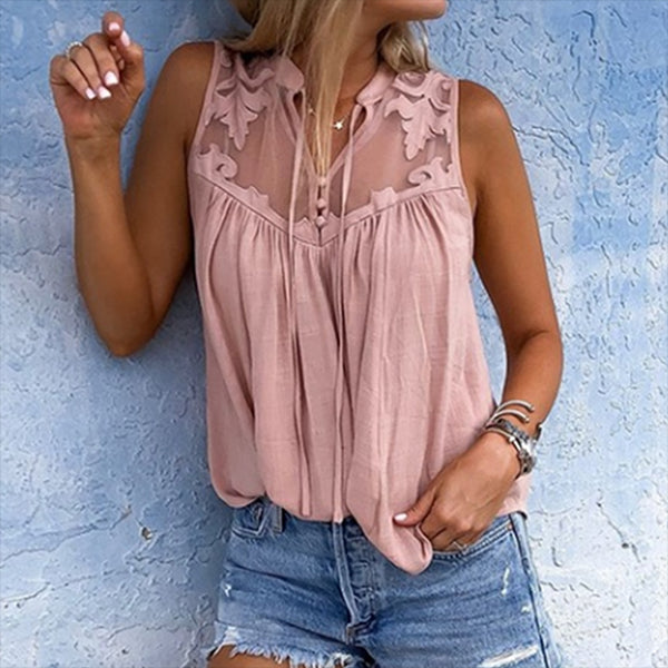 Chiffon Sleeveless Lace Blouse