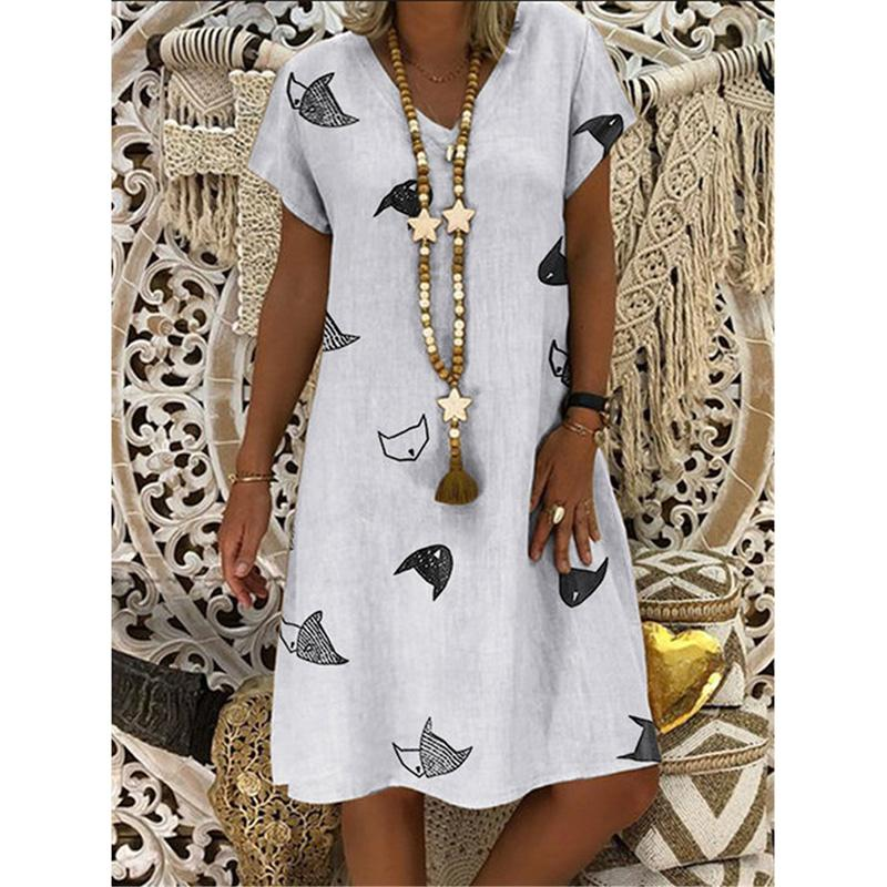Cotton Blend V Neck Fish Printed Short Sleeve Casual Dresses