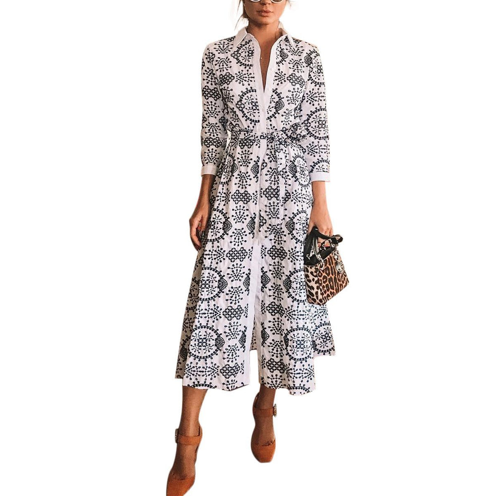 Deep V Neck Long Sleeves Printed Mid-Length Dress