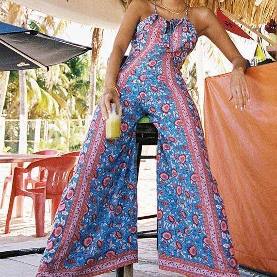 Sexy Bohemia Floral Print Sleeveless Jumpsuit