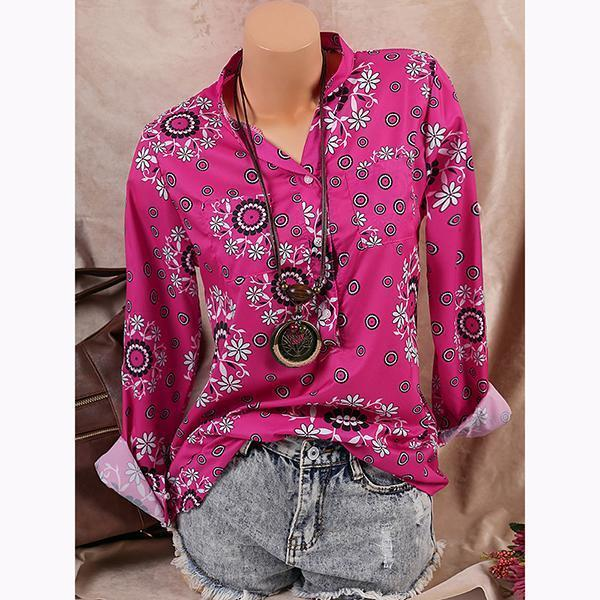 Printed Long Sleeve V Neck Blouse Shirts