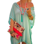 Boho Solid Color Half Sleeve Vacation Dress