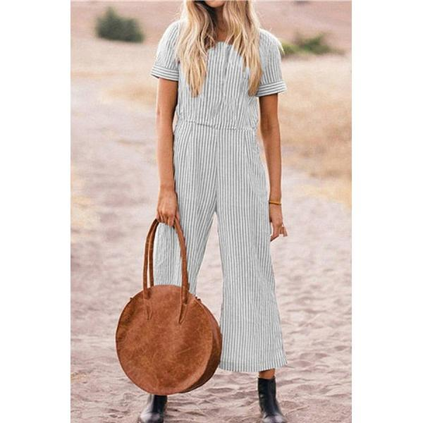 Plus Size Summer Short Sleeve Striped Jumpsuits