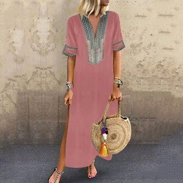 V Neck Shift Women Daily Statement Half Sleeve Slit Summer Dress